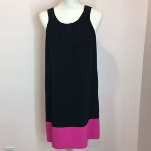 Black Cocktail Dress with Hot Pink Band